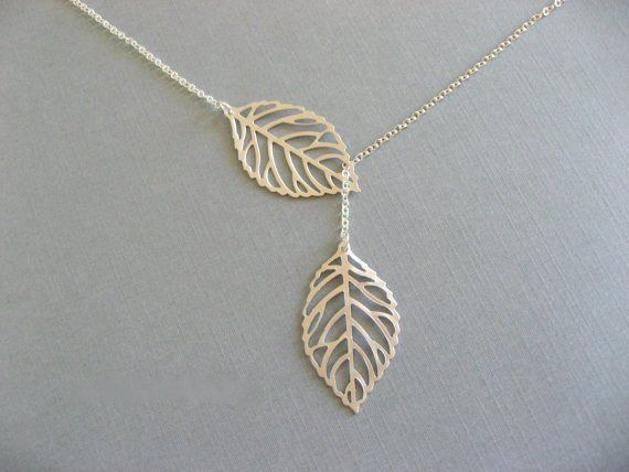Double Leaf Pendant Necklace Pendant Chain Gold / Silver Tone Gifts | eBay