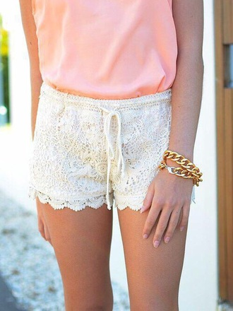 shorts lace white tie up summer