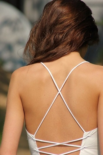 swimwear one piece bikini white strappy backless cross back tie tie up wrap