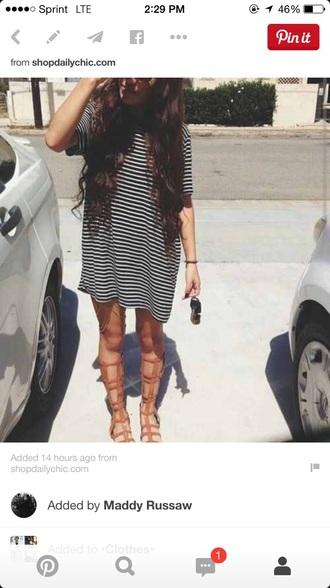 dress stripes striped dress striped shirt black t-shirt white dress white t-shirt shoes