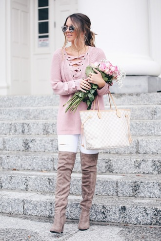 fashionably kay blogger sweater shoes sunglasses jewels louis vuitton bag boots over the knee boots lace up jumper white pants winter outfits