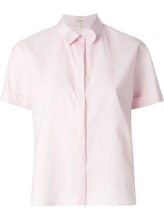 shirt cropped shirt cropped purple pink top