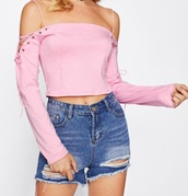 blouse,girly,pink,pink top,crop tops,crop,cropped,off the shoulder,long sleeves,lace up