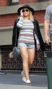 top,shorts,hilary duff,sunglasses,espadrilles,striped top,stripes,denim shorts,shoes