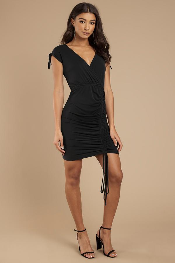 Savannah Black Surplice Dress