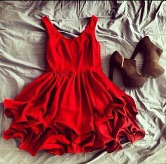 dress red dress preppy dress classy party dress flowy dress