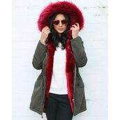 coat,one nation clothing,red fur,parka,green parka,khaki parka,fur parka,fur hood,red fur coat,khaki,fur hooded parka coat,army green fur hood parka