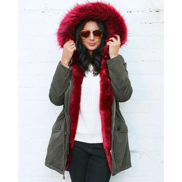 Coat: one nation clothing, red fur, parka, green parka, khaki ...