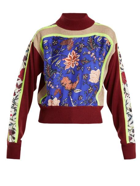 Diane Von Furstenberg sweater high print wool burgundy