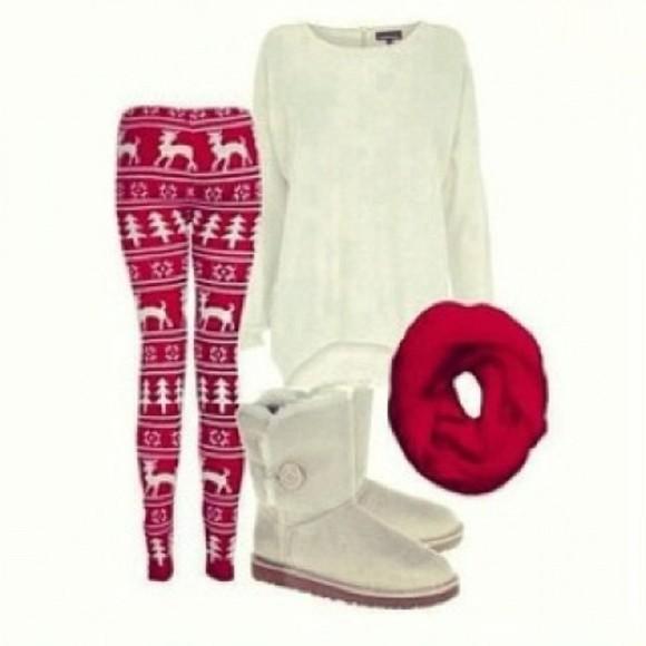 white red leggings christmas christmas leggings moose tree
