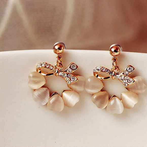 rhinestone jewels earrings elegant opal