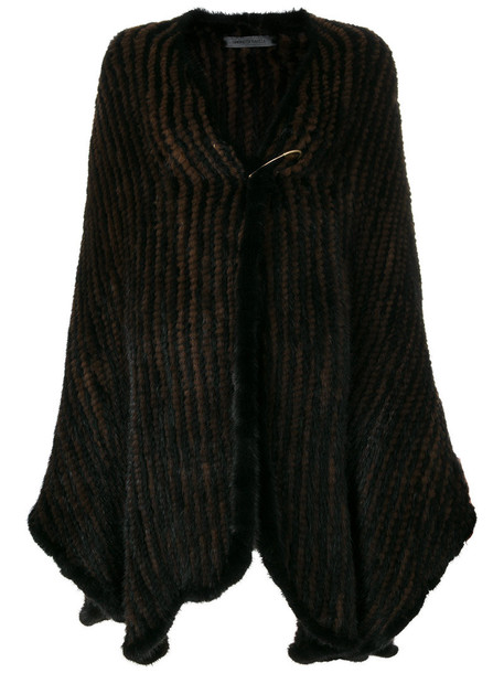 cape oversized fur women black top