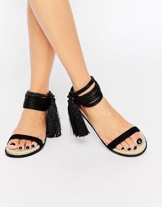 shoes sandals tassel black sandals flats
