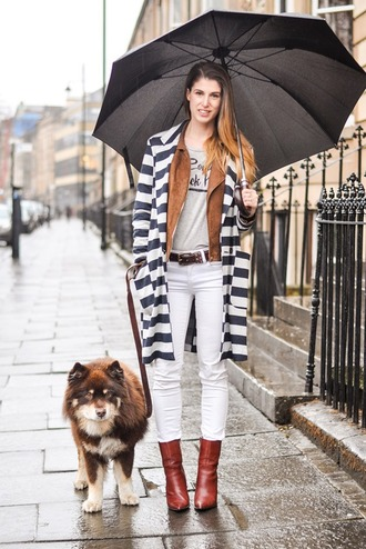 thank fifi blogger jacket stripes white jeans brown leather boots coat t-shirt belt shoes