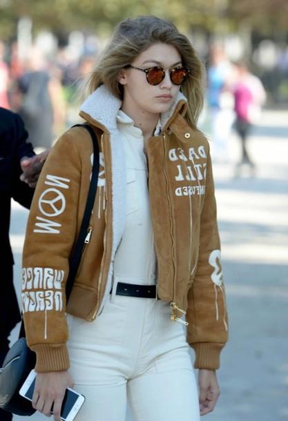 26771ed604d jacket shearling jacket gigi hadid brown shearling jacket brown jacket  jumpsuit white jumpsuit sunglasses tortoise shell