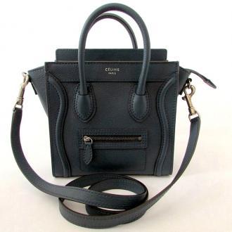 Celine: Celine Nano Luggagetote Crossbody Bag Blue - Blue/grey New | MALLERIES
