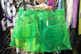 shorts green see through transparent shorts plastic green plastic see trough shorts plastic shorts see trough green shorts