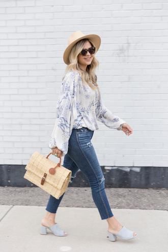 suburban faux-pas blogger hat sunglasses blouse jeans jewels bag mules summer outfits handbag