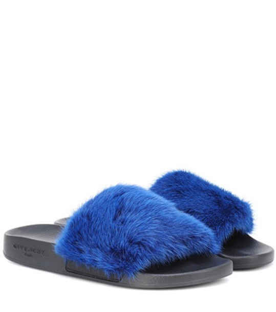 Givenchy Mink fur slides in blue
