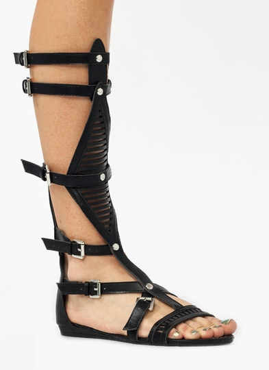 Slitting-Pretty-Gladiator-Sandals BLACK BROWN TAUPE - GoJane.com