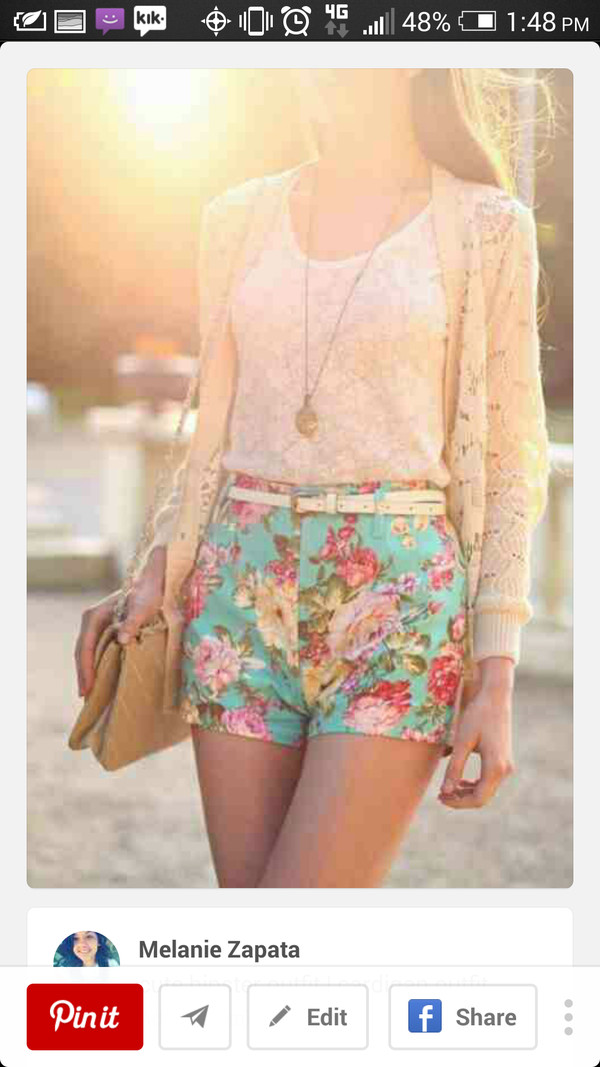 shorts flowered shorts sweater tank top