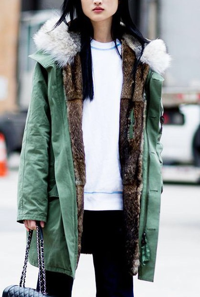 coat parka green or blue faux fur white collar