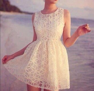 dress white dress white floral dress flowers floral clothes model beach lace up lace dress white lace dress cute dress dentelle dentelle dress blonde hair summer dress summer cute girly frilly dress lace white flower dress white short dress whites dress short dress