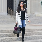morepiecesofme,blogger,sunglasses,cardigan,tank top,bag,shoes,winter outfits,boots,over the knee boots,handbag