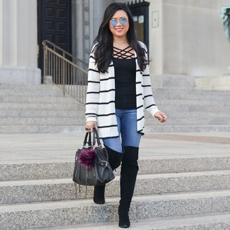 morepiecesofme blogger sunglasses cardigan tank top bag shoes winter outfits boots over the knee boots handbag