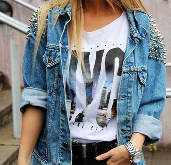 jacket jean jacket studded shirt nyc aliexpress blouse hipster tumblr girly blonde teen jeans jacket jeans rivets rivet jacket rivet coat studs t-shirt demim shirt white blue new york city denim studds gold gold studded jacket, denim,studs,jacket crop tops graphic tee tank tops spikes and studs