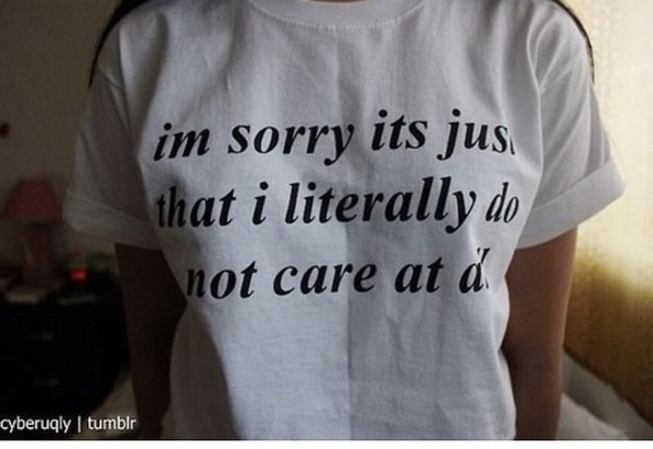 t-shirt quote on it don't care sweater