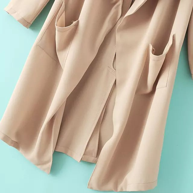 Beige Long Sleeve Pockets Loose Trench Coat - Sheinside.com