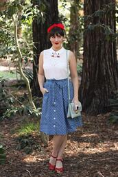 southerncaliforniabelle,blogger,top,skirt,shoes,sunglasses,t-shirt,bag,make-up,retro,vintage