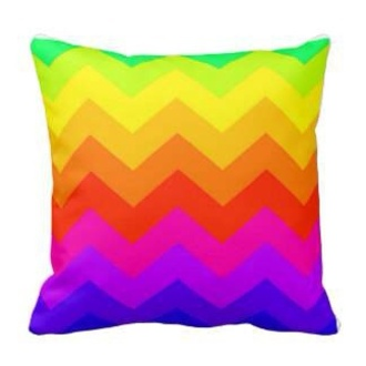 home accessory chevron pillow rainbow