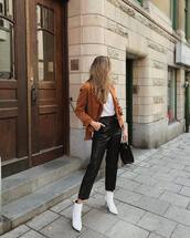 shoes,high heels boots,white boots,jacket,leather pants,cropped pants,white top,handbag