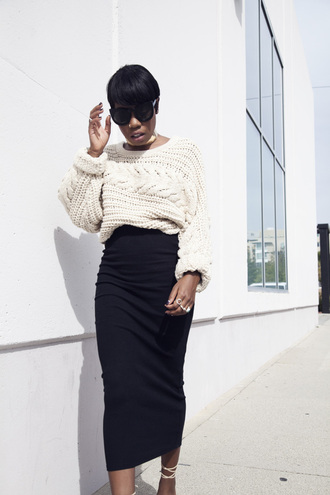 locks and trinkets blogger cable knit black skirt bodycon skirt