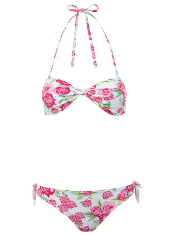 Floral Knot Bandeau Bikini - Swimwear  - Clothing  - Miss Selfridge