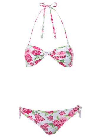 Floral knot bandeau bikini