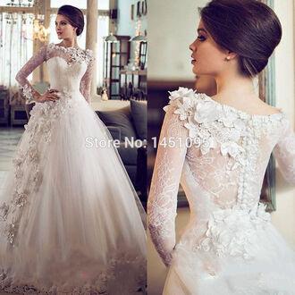 dress wedding dress long dress long sleeve dress white dress lace dress long wedding dress