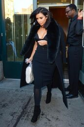 coat,top,skirt,boots,kim kardashian,all black everything,dress