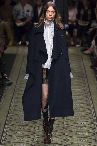 coat blouse burberry london fashion week 2016 mini skirt runway fall outfits