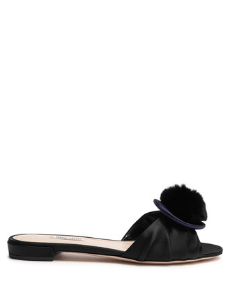 fur satin black shoes