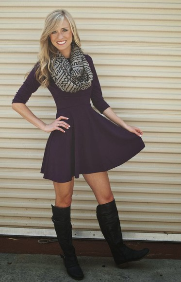 fall dress fit and flare dress purple dress pinterest
