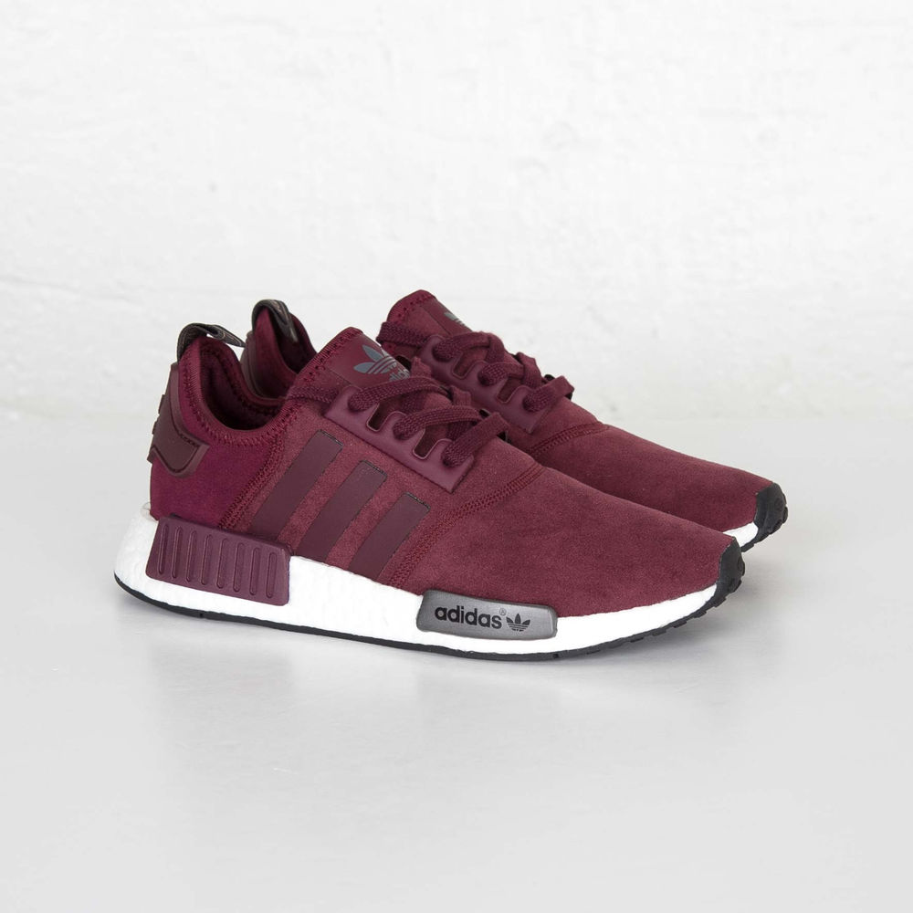 ds new womens adidas nmd r1 w maroon grey black white. Black Bedroom Furniture Sets. Home Design Ideas
