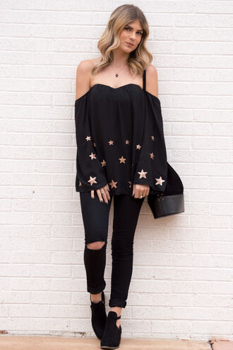 top off the shoulder cute cute top cute outfits ootd stars black black top sequins skinny jeans black jeans boots ankle boots purse fall outfits fall colors holiday season holiday outfit style fashion trendy girly girl