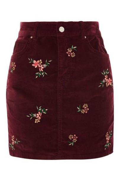 skirt denim skirt embroidered denim skirt denim embroidered velvet burgundy