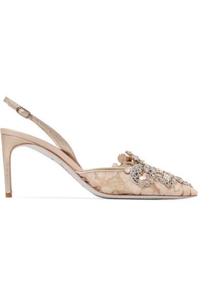 René Caovilla embellished pumps lace satin beige shoes