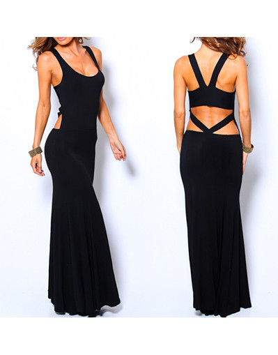 Stylish backless long dress sexy bodycon mermaid prom evening party