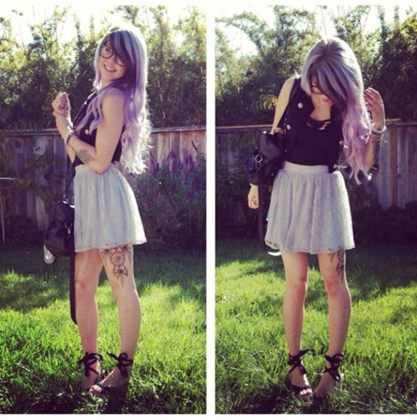 tank top black wedges lavender summer spring amyikes