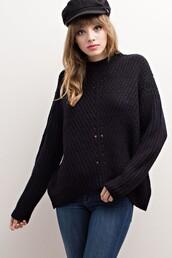 sweater,black,mock neck